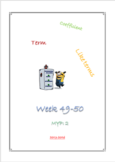 Like terms - Substitution HW(MYP2 //15-16)