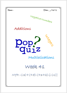 Pop Quiz W41 Integer Operations ( MYP2 // 15-16)