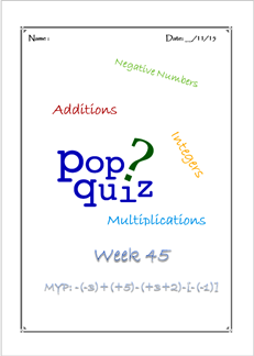 Pop Quiz W45 Integers ( MYP2 // 15-16)