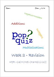 Pop Quiz W2 Integer Revision ( MYP2 // 15-16)
