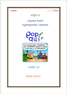 Pop Quiz Pythagorean Theorem (Week 37 - MYP4 //16-17)